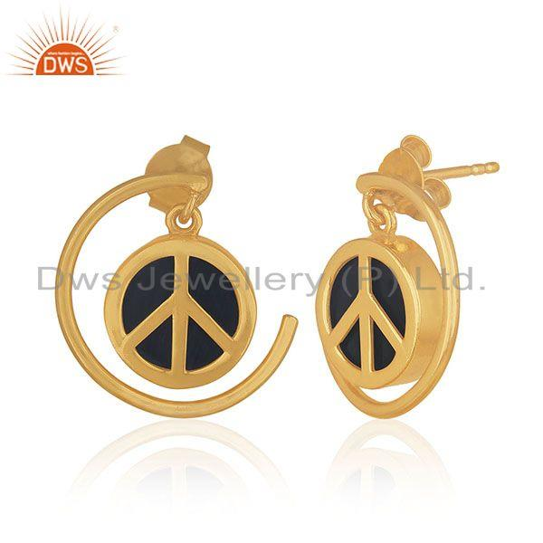 Exporter Customized Peace Charm 92.5 Sterling Silver Gemstone Earrings Manufacturer India