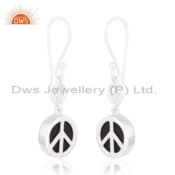 Exporter Fine Sterling 92.5 Silver Private Label Peace Design Earring Manufacturer India