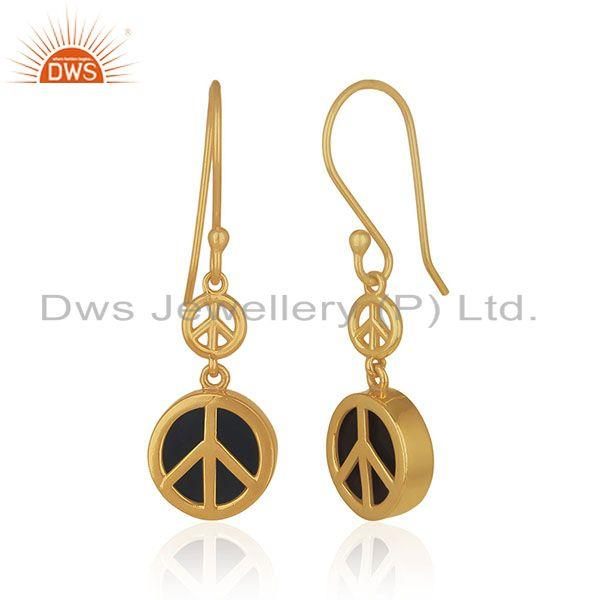 Exporter Gold Plated Sterling Silver Black Onyx Gemstone Peace Charm Earring Manufacturer