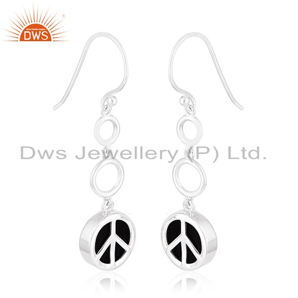 Exporter White Rhodium Plated 925 Silver Onyx Gemstone Peace Charm Earring Jewelry