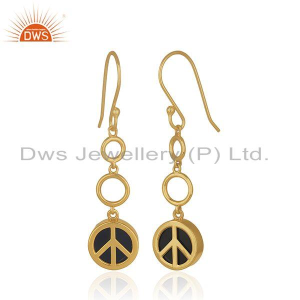 Exporter Gold Plated 925 Sterling Silver Black Gemstone Lucky Peace Charm Earrings