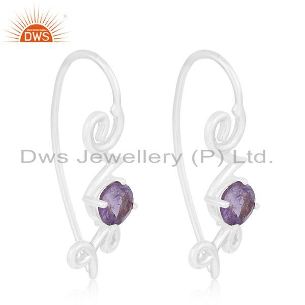 Exporter Fine Sterling Silver Love Initial Amethyst Gemstone Earring Wholesale