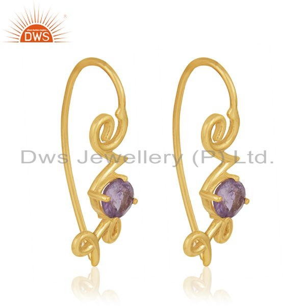 Exporter Custom Love Initial 925 Silver Gold Plated February Birthstone Earring Suppliers