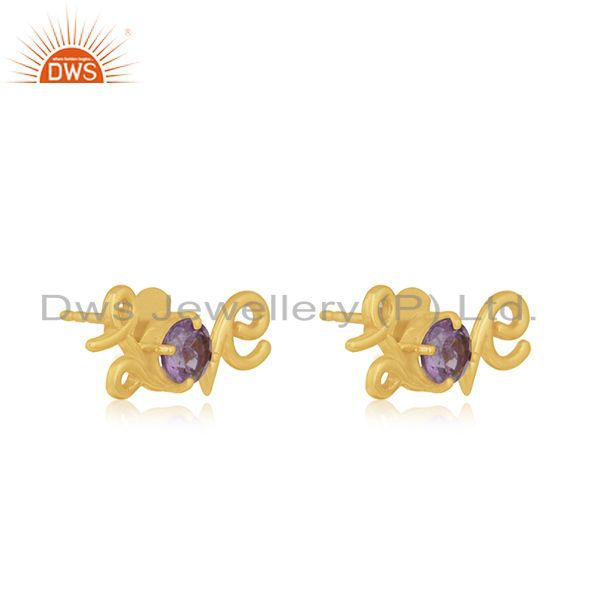 Exporter Amethyst Gemstone 925 Silver Gold Plated Initial Love Valentine Stud Earrings