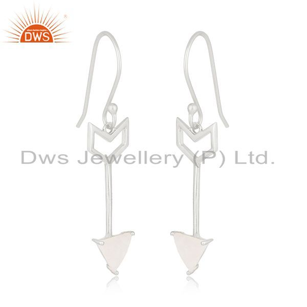 Exporter Designer Arrow Shape Sterling Silver Moonstone Custom Earring Manufacturer