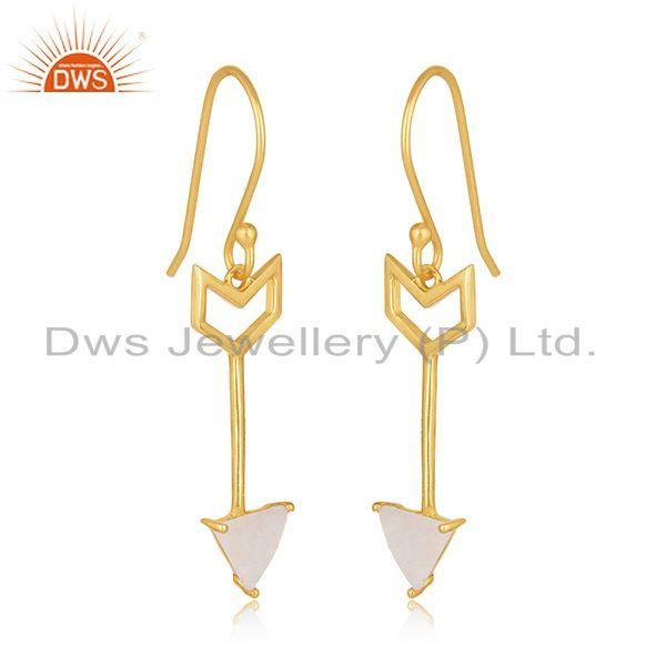 Exporter Arrow Desgin 925 Silver Gold Plated Moonstone Dangle Earring Wholesale