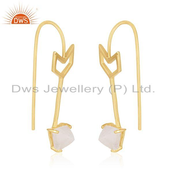 Exporter Arrow Design Sterling Silver Rainbow Moonstone Earring Jewelry Wholesale