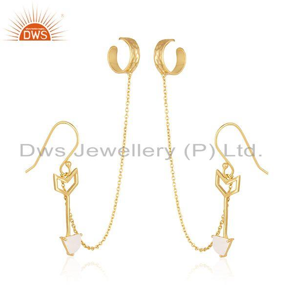 Exporter Arrow Design 925 Silver Gold Plated Designer Ear Cuff Earrings Suppliers