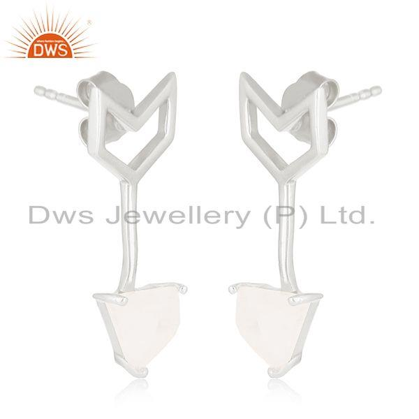 Exporter New Arrival Arrow Design 925 Silver Moonstone Rainbow Earring Jewelry Suppliers
