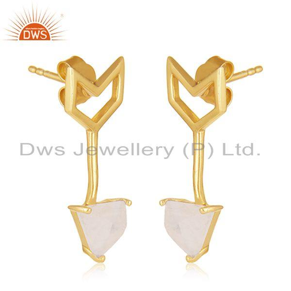 Exporter Custom Arrow Shape Gold Plated Sterling Silver Gemstone Earring Manufacturers