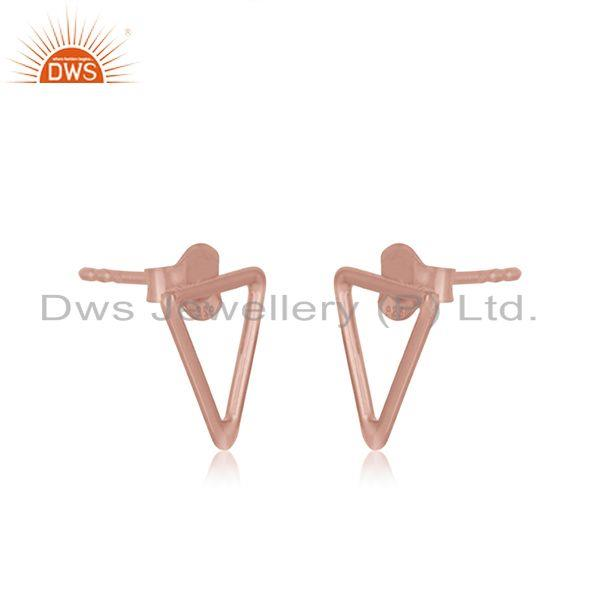 Exporter Rose Gold Plated 925 Sterling Silver Triangle Shape Stud Earrings Manufacturer