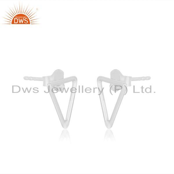 Exporter Handmade Triangle Shape 92.5 Sterling Silver Stud Earrings Manufacturers India