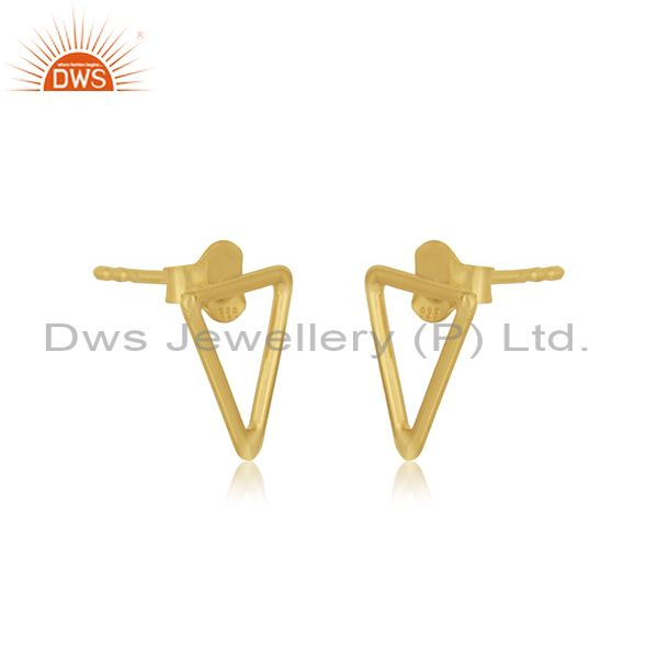 Exporter Triangle Shape 925 Sterling Silver Gold Plated Stud Earrings Manufacturer Jaipur