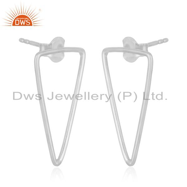 Exporter Fine Sterling 92.5 Silver Designer Triangle Earrings Jewelry for Retailers