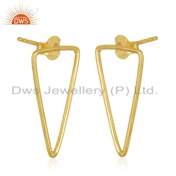 Exporter 92.5 Sterling Silver 14k Gold Plated Triangle Earrings Wholesale