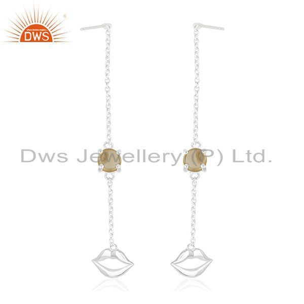 Exporter Natural Citrine Gemstone 92.5 Sterling Silver Lip Earrings Manufacturer Jaipur
