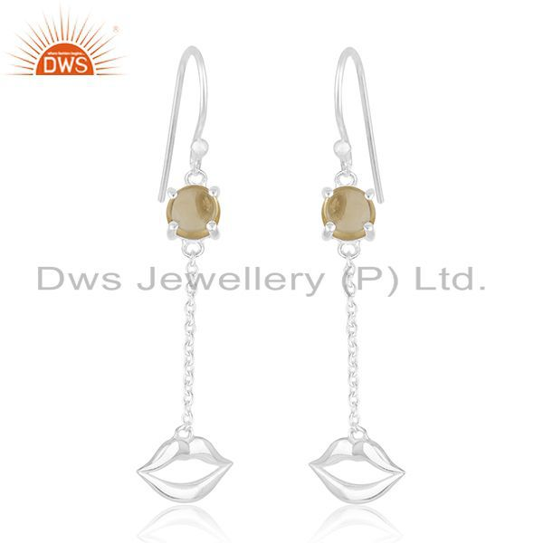 Exporter Lip Design 925 Sterling Silver Citrine Gemstone Earrings Wholesale Suppliers