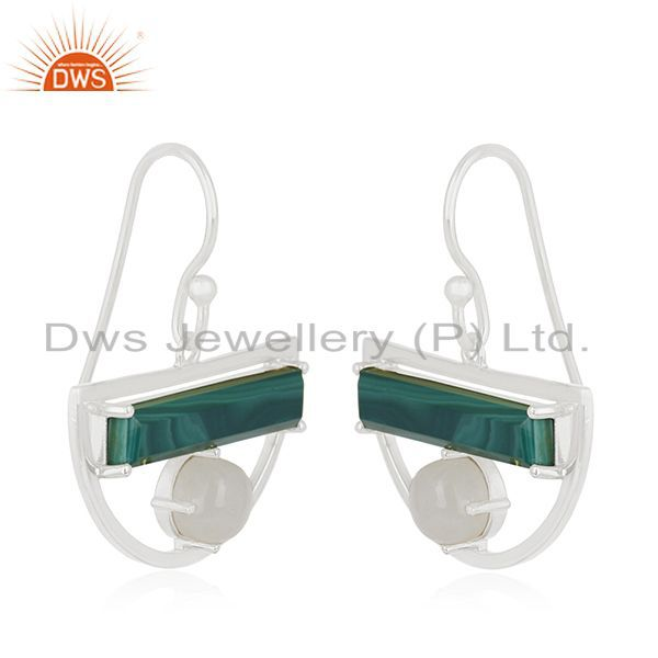 Exporter Sterling Fine Silver Malachite Gemstone and Raninow Moonstone Half Moon Earrings