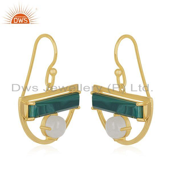 Exporter Gold Plated Half Moon Design 925 Silver Malachite Gemstone Earring Manufacturer