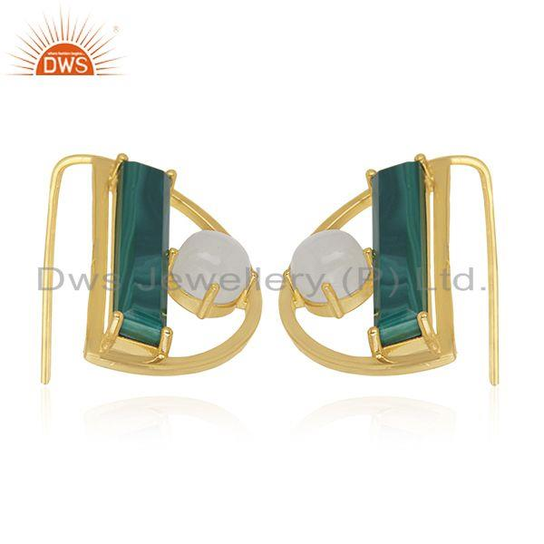 Exporter 14k Gold Plated 925 Silver Half Moon Design Multi Gemstone Earring Manufacturers