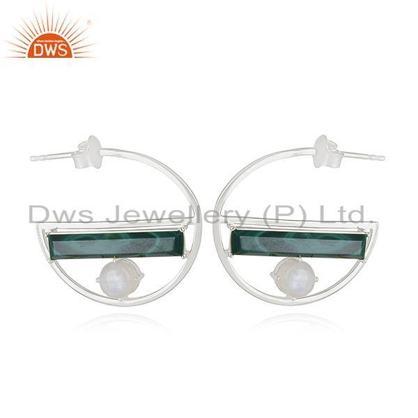 Exporter Ranibow Moonstone and Malchite Half Moon Design Earring Manufacturers