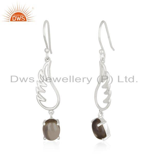 Exporter Smoky Quartz 925 Sterling Fine Silver Angel Wing Earring Manufacturer