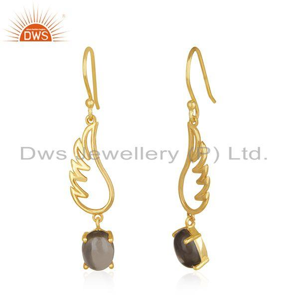 Exporter Angle Wing 925 Silver Gold Plated Smoky Quartz Earring Manufacturer