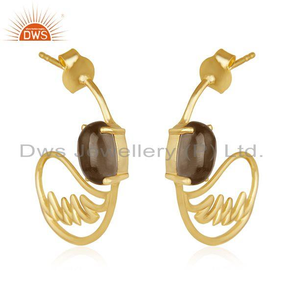 Exporter Angel Wing 925 Silver Gold Plated Smoky Quartz Earring Manufacturer from India
