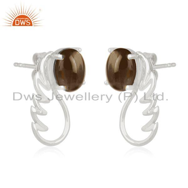 Exporter Fine Sterling Silver Smoky Quartz Gemstone Angel Wing Stud Earring Manufacturers