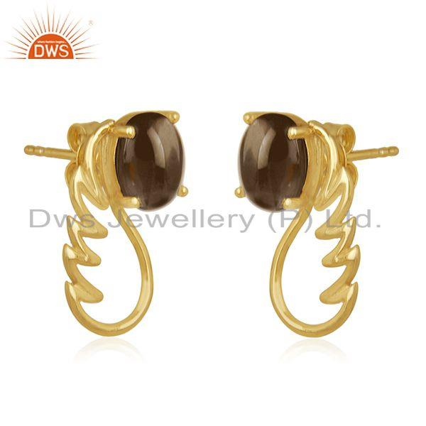 Exporter 18k Gold Plated 925 Silver Smoky Quartz Gemstone Angel Wing Earring Wholesale
