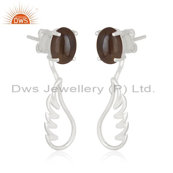 Exporter 925 Sterling Fine Silver Angel Wing Smoky Quartz Dangle Earring Manufacturers