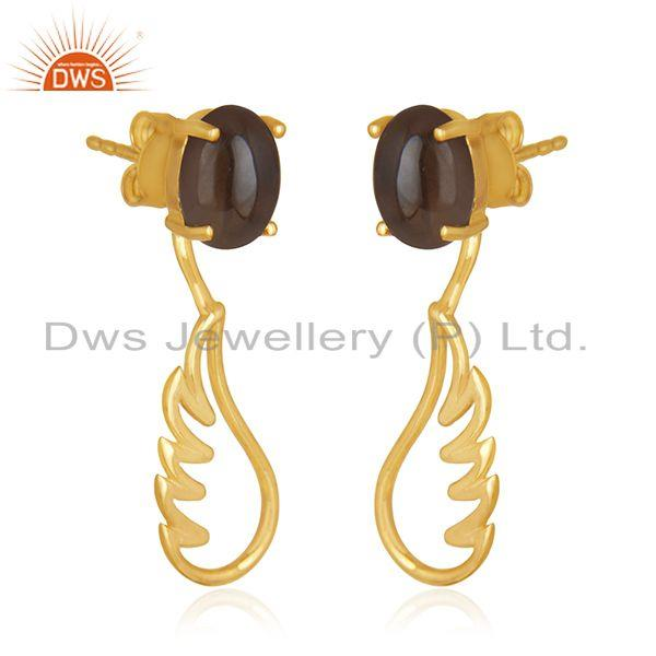 Exporter Gold Plated 925 Sterling Silver Angel Wing Smoky Quartz Earring Manufacturer