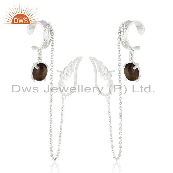 Exporter Angel Wing 925 Fine Silver Smoky Quartz Ear Cuff Chain Earring Manufacturers