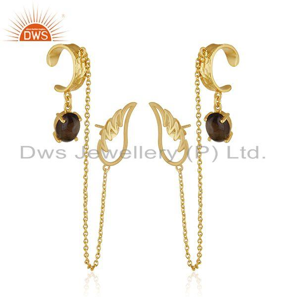 Exporter Angel Wing 925 Sterling Silver Gold Plated Ear Cuff Earring Manufacturers