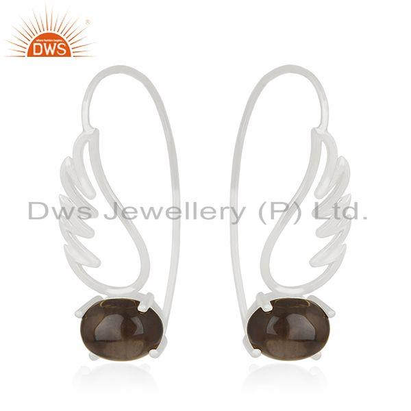 Exporter 92.5 Sterling Fine Silver Angel Wing Design Gemstone Earring Wholesale Suppliers