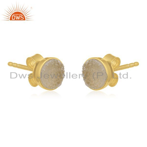 Exporter Gold Plated 925 Silver White Druzy Stud Earring Wholesale Supplier