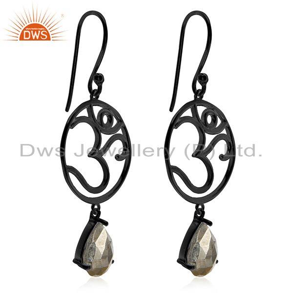 Exporter Om Aum Charm 925 Silver Black Rhodium Plated Pyrite Gemstone Earrings Wholesale