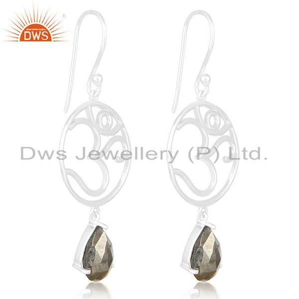 Exporter Fine Sterling Silver Om Charm Pyrite Gemstone Dangle Earring Manufacturers