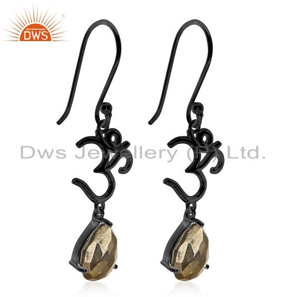 Exporter Om Aum Charm Black Rhodium Plated 925 Silver Pyrite Gemstone Earring Wholesale