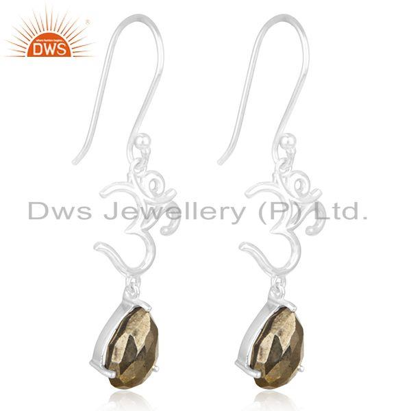 Exporter Om Aum Charm 925 Fine Silver Pyrite Gemstone Earring Manufacturer of Jewelry