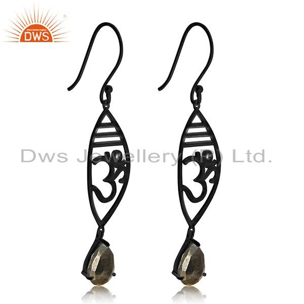 Exporter Black Rhodium Plated 925 Silver Pyrite Gemstone Om Aum Charm Earring Suppliers