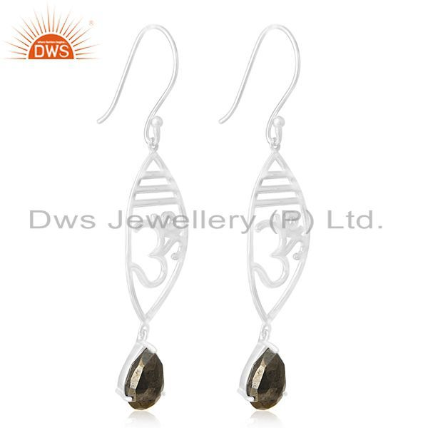 Exporter Om Aum 925 Sterling Silver Pyrite Gmestone Charm Earring Manufacturer Jewelry