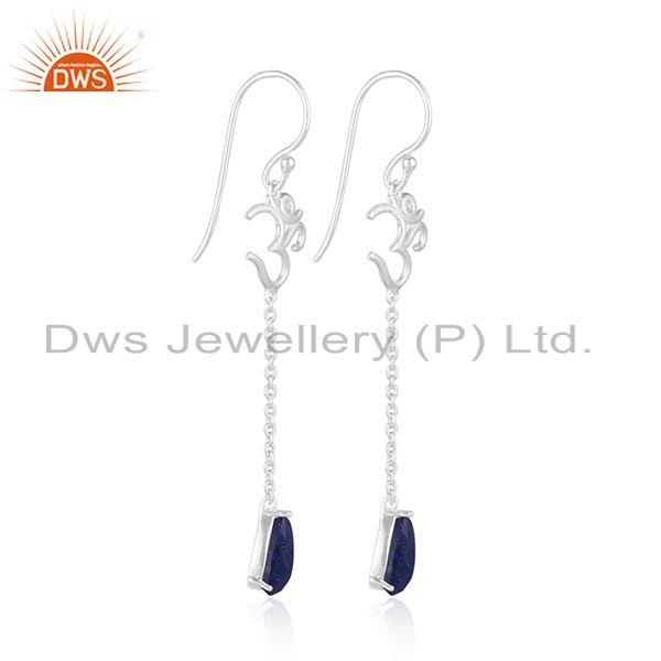 Exporter Natural Lapis Lazuli OM Design Sterling Silver Dangle Earrings Jewelry