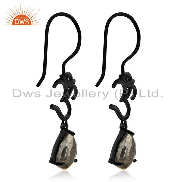 Exporter Black Rhodium Plated Pyrite Gemtone Om Charm Earring Manufacturers