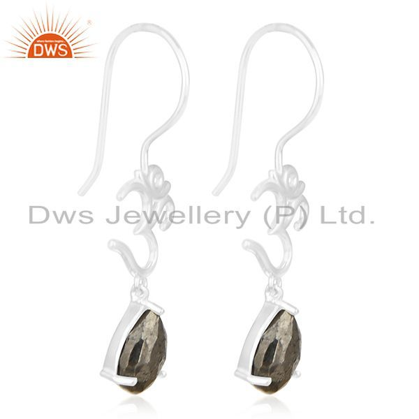 Exporter Fine Sterling Silver Om Aum Charm Pyrite Gemstone Earring Manufacturer India