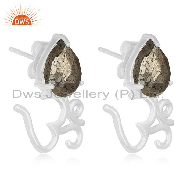 Exporter Pyrite Gemstone 925 Fine Silver Om Aum Indian Religious Stud Earring Jewelry