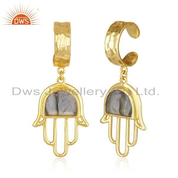 Exporter Buddhism Hamsa Hand Gold Plated 925 Silver Labradorite Gemstone Earring Supplier