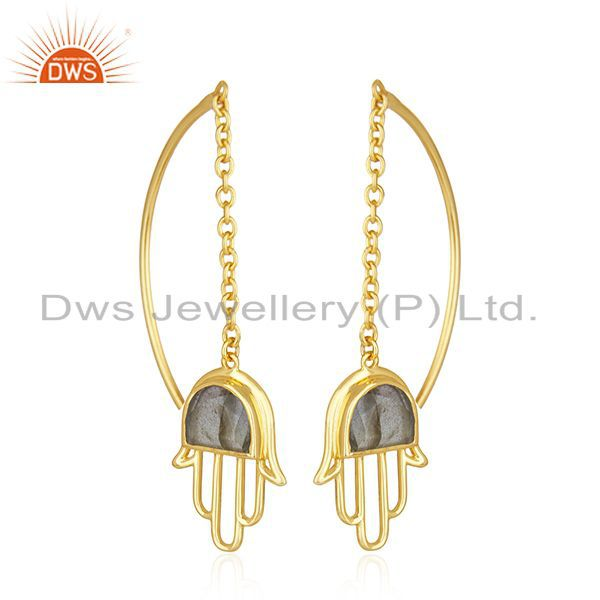 Exporter Gold Plated Hamsa Hand 925 Silver Labradorite Gemstone Earring Wholesale