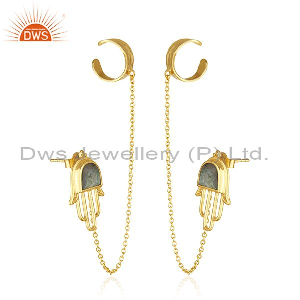 Exporter Hamsa Hand Gold Plated 925 Silver Labradorite Gemstone Cuff Earring Supplier