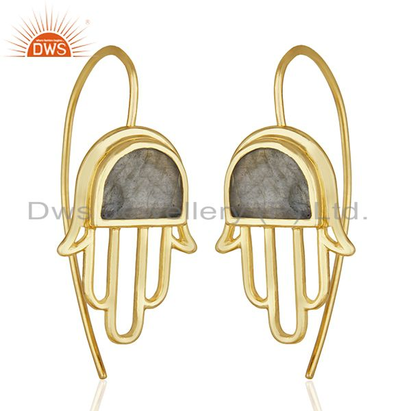 Exporter Labradorite Gemstone Gold Plated 925 Silver Hamsa Hand Charm Earring Wholesale